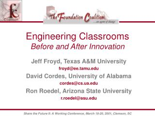 Engineering Classrooms Before and After Innovation