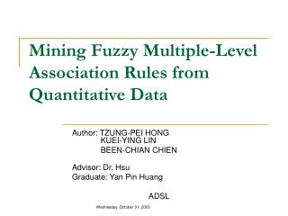 Mining Fuzzy Multiple-Level Association Rules from Quantitative Data