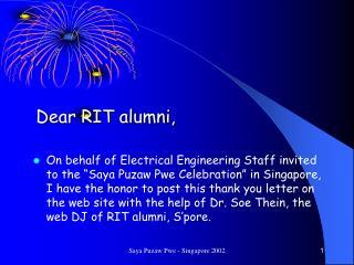 Dear RIT alumni,