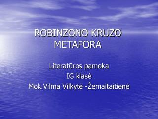 ROBINZONO  KRUZO METAFORA