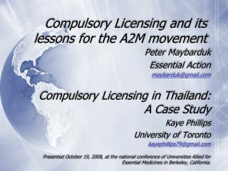 Compulsory Licensing and its lessons for the A2M movement
