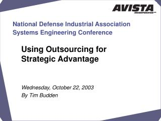 National Defense Industrial Association  Systems Engineering Conference