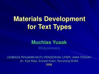 Materials Development for Text Types