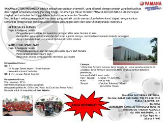 Persyaratan Khusus: NO. 1 :     - S1 Jurusan Teknik Mesin / Teknik Industri