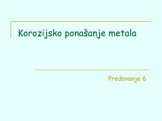 Korozijsko ponašanje metala