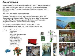 Bauer Ewald aus Hilden realisiert den Neubau eines Kuhstalls für 60 Kühe.
