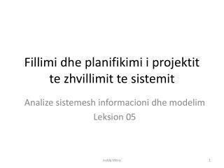 Fillimi dhe planifikimi i projektit te zhvillimit te sistemit