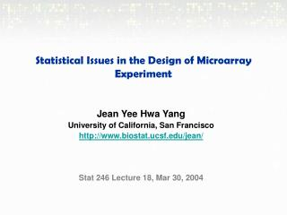 Statistical Issues in the Design of Microarray Experiment