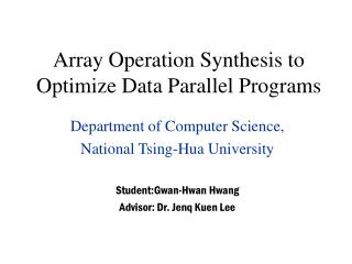 Array Operation Synthesis to Optimize Data Parallel Programs
