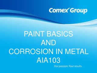 PAINT BASICS AND CORROSION IN METAL                                 AIA103   Provider J476