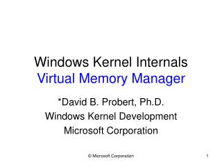 Windows Kernel Internals Virtual Memory Manager