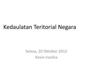 Kedaulatan Teritorial  Negara