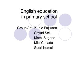 English education in primary school