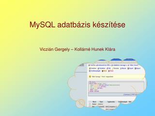 MySQL adatbázis készítése