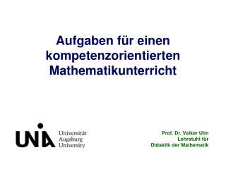 Aufgaben für einen  kompetenzorientierten Mathematikunterricht