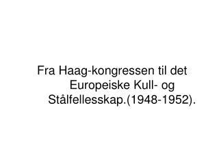 Fra Haag-kongressen til det Europeiske Kull- og Stålfellesskap.(1948-1952).