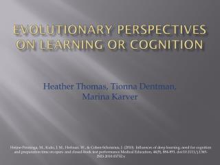 Evolutionary perspectives on learning or cognition