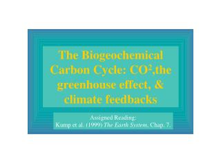 The Biogeochemical Carbon Cycle: CO 2 ,the greenhouse effect, & climate feedbacks