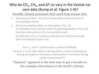 Why do CO 2 , CH 4 , and ?T co-vary in the Vostok ice-core data (Kump  et al.  Figure 1-9)?