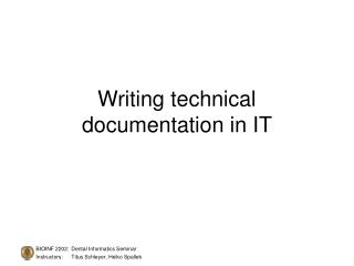 Writing technical documentation in IT