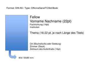 Fellow Vorname Nachname (22pt) Fachrichtung (14pt) Institution