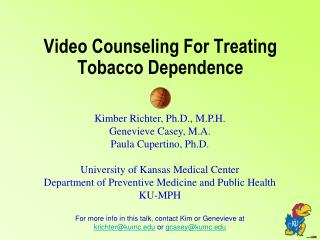 Video Counseling For Treating Tobacco Dependence