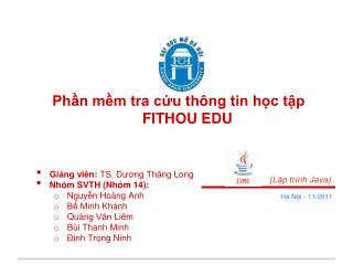 Ph?n m?m tra c?u th�ng tin h?c t?p  FITHOU EDU