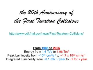 the 20th Anniversary of  the First Tevatron Collisions