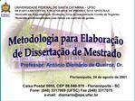UNIVERSIDADE FEDERAL DE SANTA CATARINA   UFSC DEPARTAMENTO DE  ENGENHARIA DE PRODU  O E SISTEMAS Mestrado em Engenharia