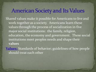 American Society and Its Values