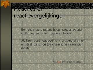 Reacties en reactievergelijkingen