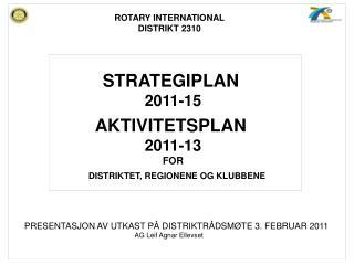 STRATEGIPLAN 2011-15 AKTIVITETSPLAN  2011-13 FOR