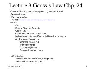 Lecture 3 Gauss s Law Chp. 24