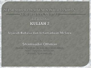 Sejarah Ringkas Bahasa Melayu