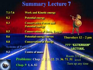Summary Lecture 7