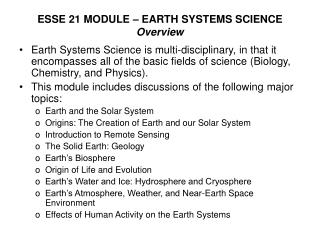 ESSE 21 MODULE � EARTH SYSTEMS SCIENCE Overview