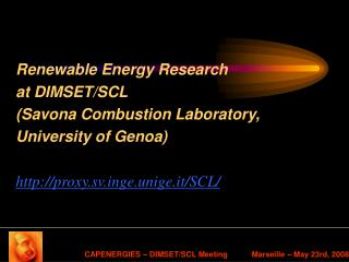 Sustainable energies at DIMSET/SCL
