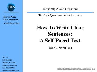 How To Write Clear Sentences:   A Self-Paced Text  ISBN 1-930765-04-5