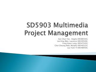 SD5903 Multimedia Project Management