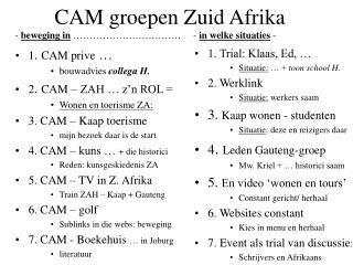 CAM groepen Zuid Afrika  -  beweging in  �����������     -  in welke situaties  -