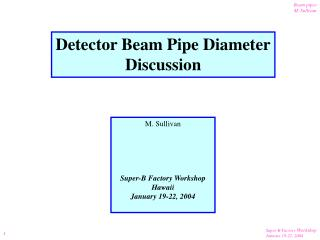 Detector Beam Pipe Diameter Discussion