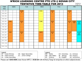 TENTATIVE TIME-TABLE FOR 2013