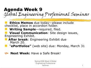 Agenda Week 9 Global Engineering Professional Seminar
