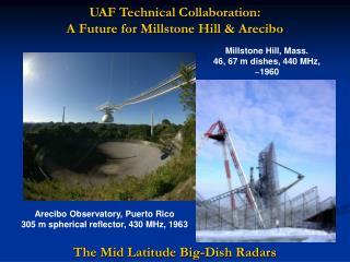 UAF Technical Collaboration: A Future for Millstone Hill & Arecibo