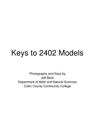 Keys to 2402 Models