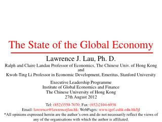 The State of the Global Economy