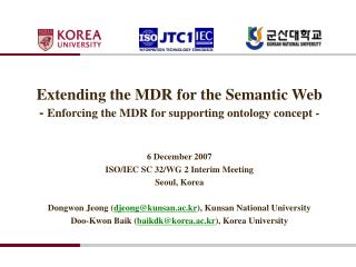 Extending the  MDR  for  the Semantic Web -  Enforcing the MDR for supporting ontology concept -
