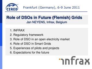 1. INFRAX 2.  Regulatory framework 3.  Role  of DSO in an open  electricity market