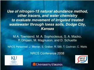 Use of nitrogen-15 natural abundance method, other tracers, and water chemistry
