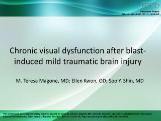 Chronic visual dysfunction after blast-induced mild traumatic brain injury